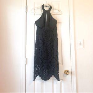 Black Keyhole Lace Dress